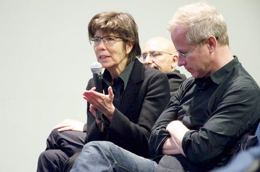 "Elizabeth Diller speaking at the Columbia GSAPP. Photo courtesy of <a href="" https://commons.m.wikimedia.org/wiki/File:Elizabeth_Diller_and_Mark_Wasiuta_(8726451264).jpg ""> Columbia GSAPP.</a>"