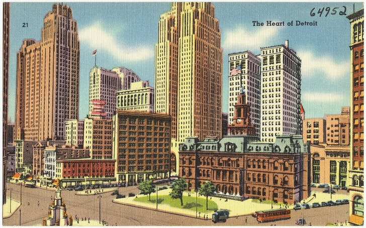 'The Heart of Detroit' postcard (Date Issued: Aprox. 1930 - 1945) From: The Tichnor Brothers Collection. Image courtesy of Boston Public Library, Print Department