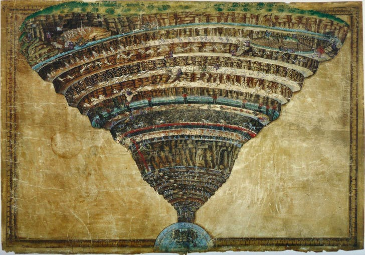 Illustration of the structure of hell according to Dante Alighieri's Divine Comedy by Sandro Botticelli (c. 1480 and 1490)