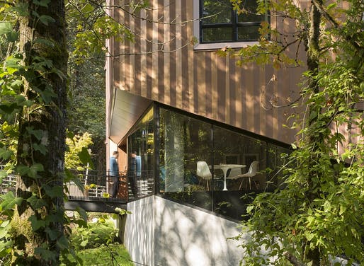 """TreeHouse by LEVER Architecture. """"7-story, 69-unit, multi-family apartment building located on a steep forested site on the Marquam Hill campus of the Oregon Health & Science University (OSHU) in Portland."""" Built in Portland, OR. Image courtesy of"""