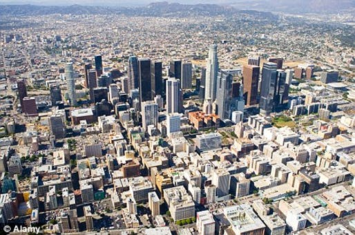 Metropolis: Parts of Britain could join up and come to resemble Los Angeles, pictured, according to leading architect Lord Rogers