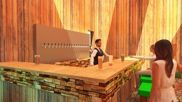 The bar with custom modeled beer taps