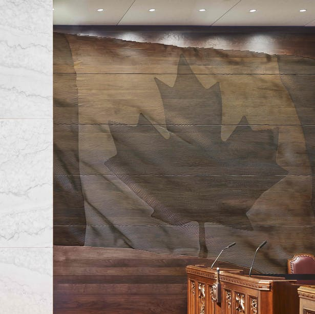 Detail of CNC-wood-cut Canada flag in the Senate Chamber doublespace photography