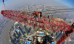 Cranes are dismantled from China's Shanghai Tower skyscraper