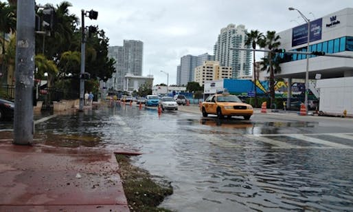In November 2013, a full moon and high tides led to flooding in parts of the city, including here at Alton Road and 10th Street. (The Guardian; Photograph: Corbis)