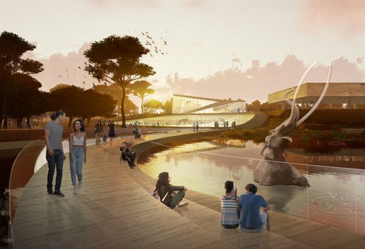 WEISS/MANFREDI conceptual approach features a bridge across the Lake Pit at La Brea Tar Pits. Rendering courtesy of WEISS/MANFREDI.