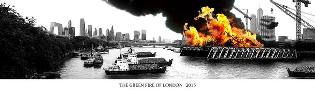 'Green Fire of London' by Ben Weir - Overall winner of the 'Folly for London' competition. Image courtesy of the 'A Folly for London' competition.