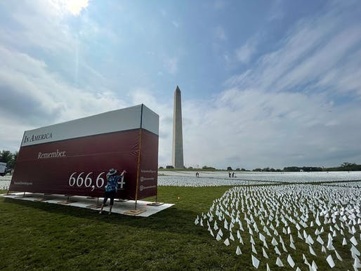 """The vast installation """"In America: Remember"""" opened today on the National Mall. Image courtesy Suzanne Brennan Firstenberg on <a href=""""https://www.instagram.com/p/CT59Yz7tdes/"""">Instagram</a>."""