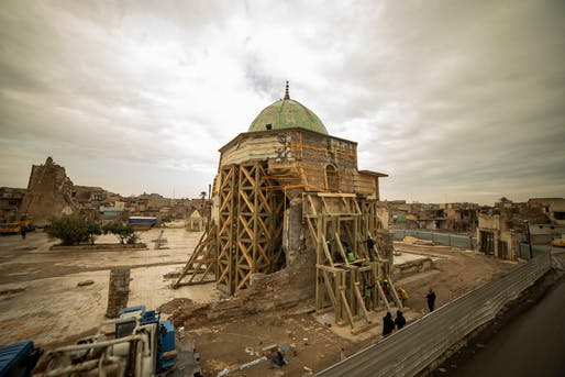"Remains of the heavily damaged Al-Nouri Mosque in Mosul, Iraq. Image via UNESCO Iraq/<a href=""https://www.facebook.com/UNESCOIraq/photos/a.1003098909703024/3332807263398832/?type=3&theater"">Facebook</a>."