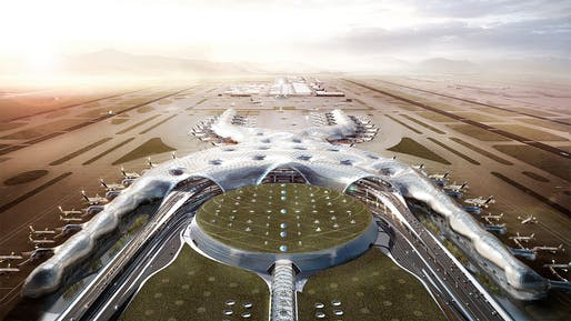 "Rendering of the $13 billion (but <a href=""https://archinect.com/news/tag/1165174/mexico-city-international-airport"">ultimately scrapped</a>) new Mexico City International Airport designed by a conglomerate comprising Foster + Partners, FR-EE, and NACO. Image: Foster + Partners."