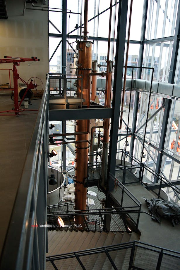 The still rises from the bottom to the top of the three-story-clear atrium.