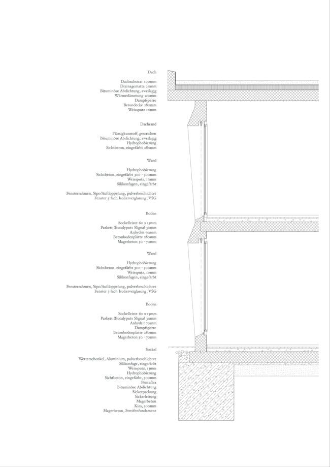 Detailed section. Image courtesy of Roeoesli & Maeder Architects.
