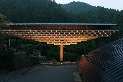 Yusuhara Wooden Bridge Museum, designed by Kengo Kuma. Photo © Takumi Ota Photography