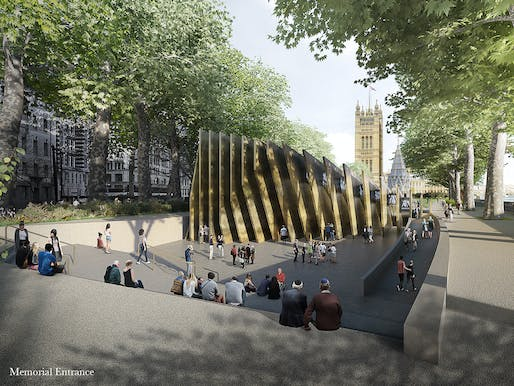 Front view of the winning design for the planned UK Holocaust Memorial and Learning Centre. © Adjaye Associates and Ron Arad Architects