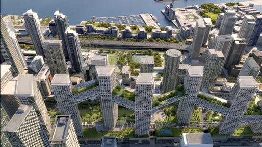 Rendering of the proposed Over Rail Corridor Area (ORCA) development for Toronto. Courtesy of Safdie Architects.