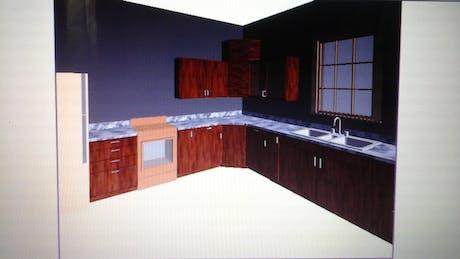 Interior snap shot of rendering of Kitchen from plan below.