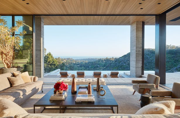Use of material is central to the design philosophy. The surrounding landscape is reflected in the home through various types of wood. (Roger Davies Photography)