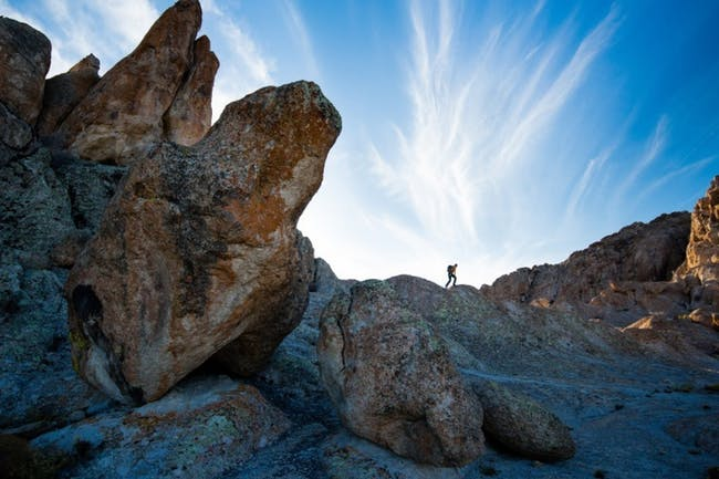 A hiker walks in the new national monument park, known as the Basin and Range taken last fall in Nevada. (Photo by Tyler Roemer)