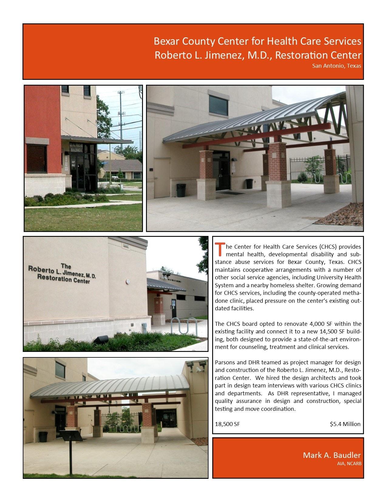 Chcs Roberto L Jimenez M D Restoration Center Mark Baudler