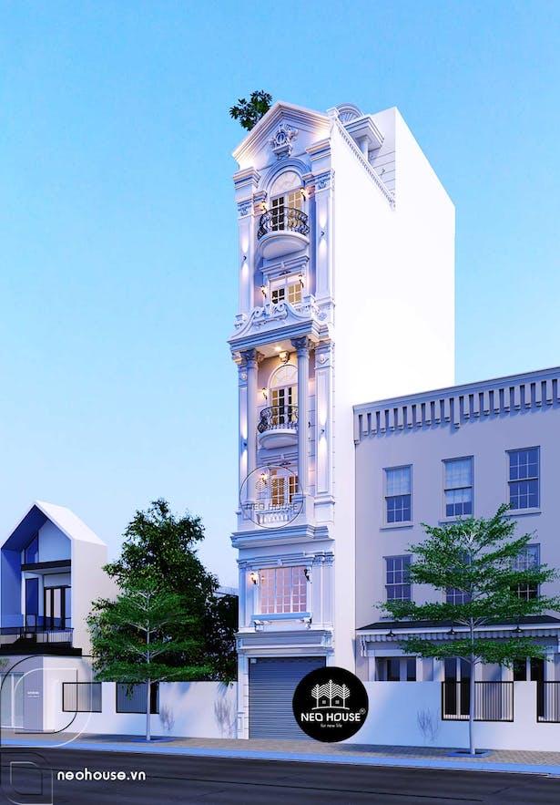 Thiết kế nhà phố mặt tiền 4m 6 tầng 1 tum tân cổ điển tại Tphcm thumbnail