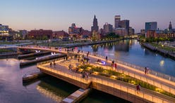Pedestrian bridge in Providence anticipates bustling activity with sweeping wooden form