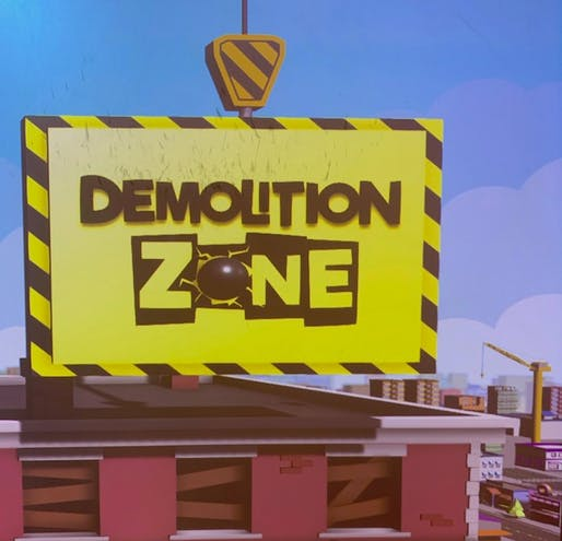 Still from opening sequence of Demolition Zone. Photo by Anthony Carfello.