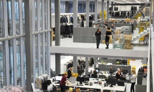 Staggered studios … the open-plan hall features split levels of offices and design departments. Photograph: OMA/G-Star Raw