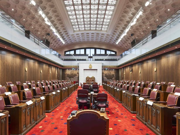 Senate Chamber in former Ottawa train station concourse doublespace photography