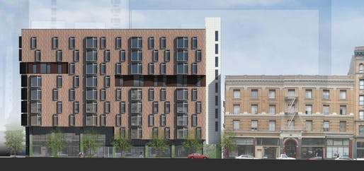 Rendering of the 222 Taylor project, designed by David Baker Architects. Image courtesy of David Baker Architects.