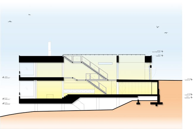 Long section through the house. Drawing courtesy SPF:a.