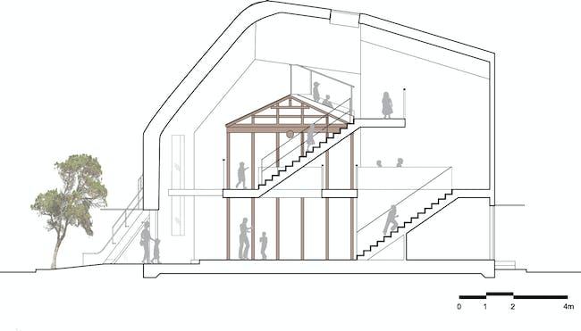 Clover House - Longitudinal Section. Image courtesy of MAD.