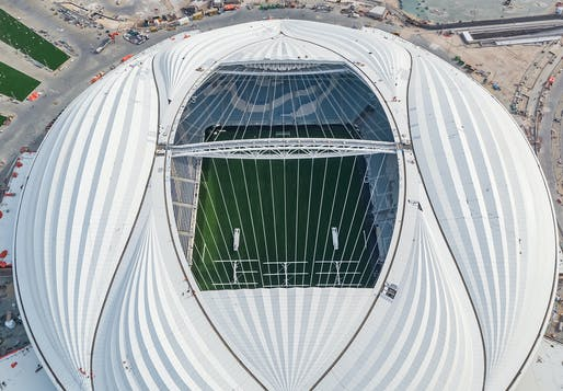 Aerial view of the completed Al Janoub Stadium in Al Wakrah, Qatar. Image courtesy of Zaha Hadid Architects.