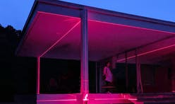 Mies' Farnsworth House to be awash in gridded lasers for this year's Chicago Architecture Biennial