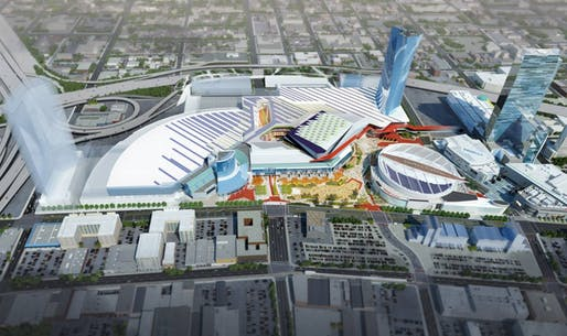 Design of the Los Angeles Convention Center expansion by Populous and HMC Architects. (Image via Mayor Eric Garcetti's Facebook)