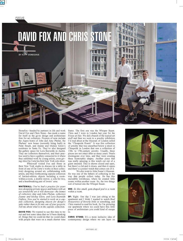 Chris Stone and David Fox in Whitewall Magazine   Stonefox