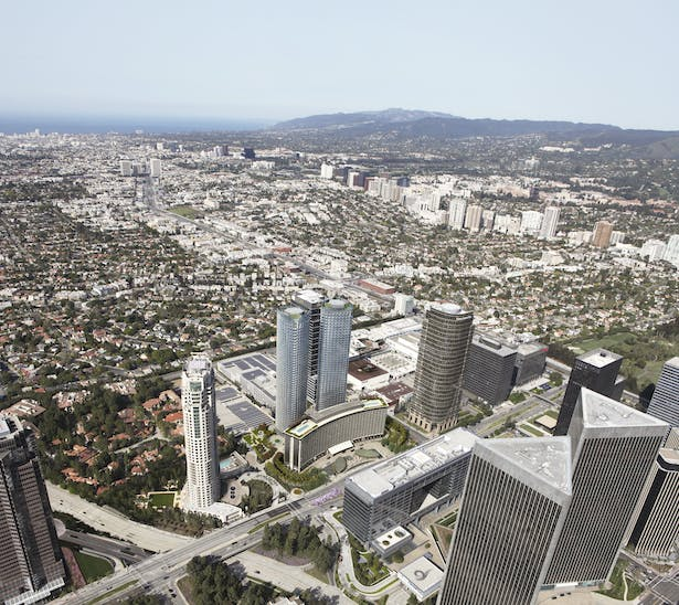 Aerial Site View within context of existing Century Plaza Hotel and Towers by Minoru Yamasaki