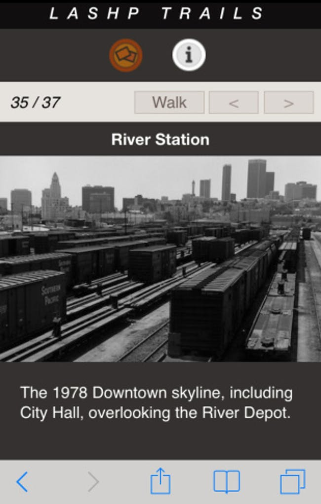 Screenshot from the LASHP Trails app. Image via scpr.org.
