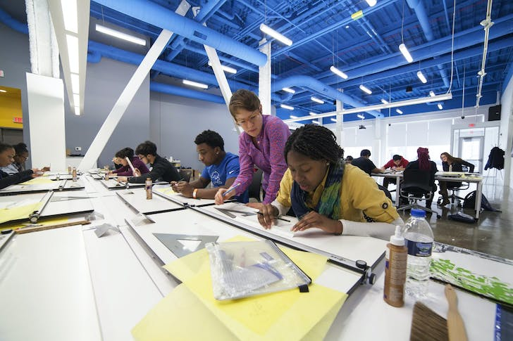High school students in the Detroit ArcPrep Program. Image courtesy of University of Michigan.