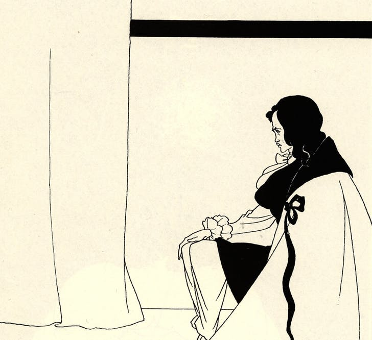 'The Fall of the House of Usher,' an illustration by Aubrey Beardsley from 1894. While beautiful, Beardsley's image notably depicts Usher in an isolated, minimalist context devoid of the non-human life present in Poe's story. Credit: WikiMedia