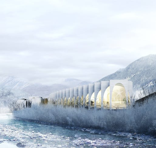 BIG's winning proposal for the new San Pellegrino Flagship Factory in San Pellegrino Terme, Bergamo, Italy. Image courtesy of BIG.