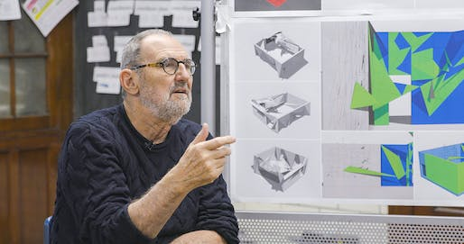 Thom Mayne addresses students in the Thom Mayne Young Architects Program. Image: Google.
