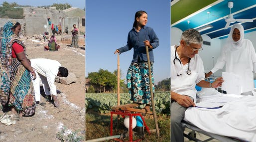 The three winners of the 2013 Curry Stone Design Prize: Hunnarshala, Proximity Designs and Studio TAMassociati/Emergency