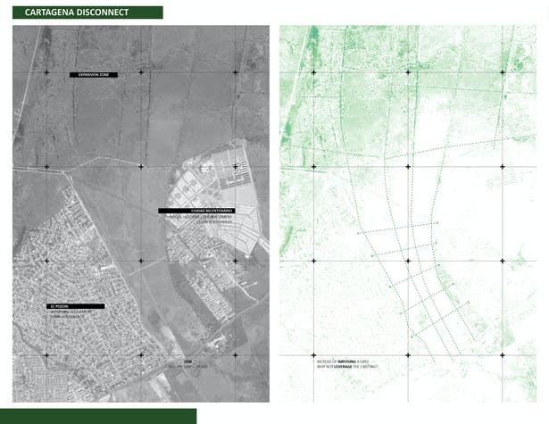 Cartagena contrasts. Existing community of informal settlement and social housing projects are in complete isolation. Dryfo Urbanism leverages the existing vegetation of the grazing land to establish the urban framework and stitches the two communities together
