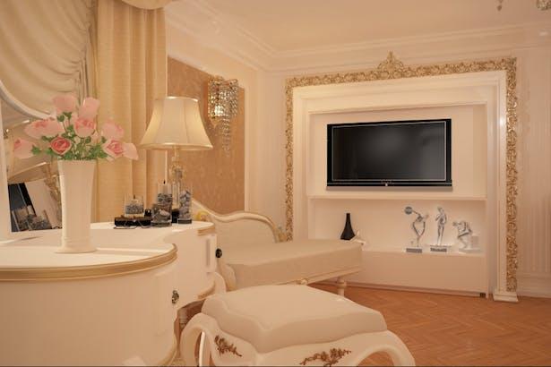 Dormitor vila amenajat in stil clasic