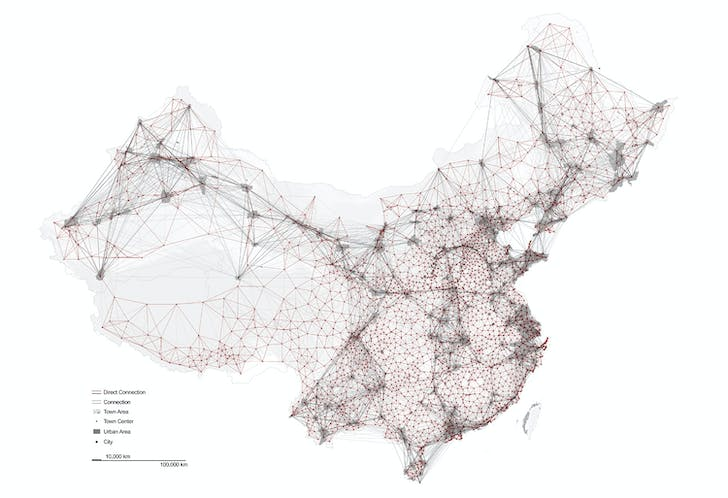 China's urban network (City + Town). Image credit and courtesy of Dingliang Yang.