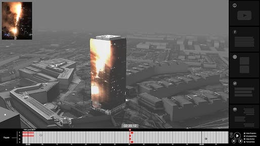 Data mapping of the Grenfell Tower fire. Image: Forensic Architecture.