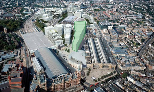 The site of the new Google headquarters between St. Pancras station and King's Cross. Image credit: Google