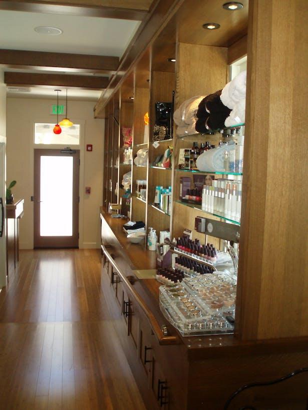 Sano Spa Entrance & custom Retail display