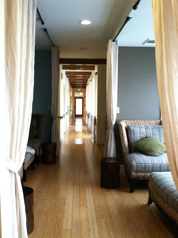 Lounge areas along hallway