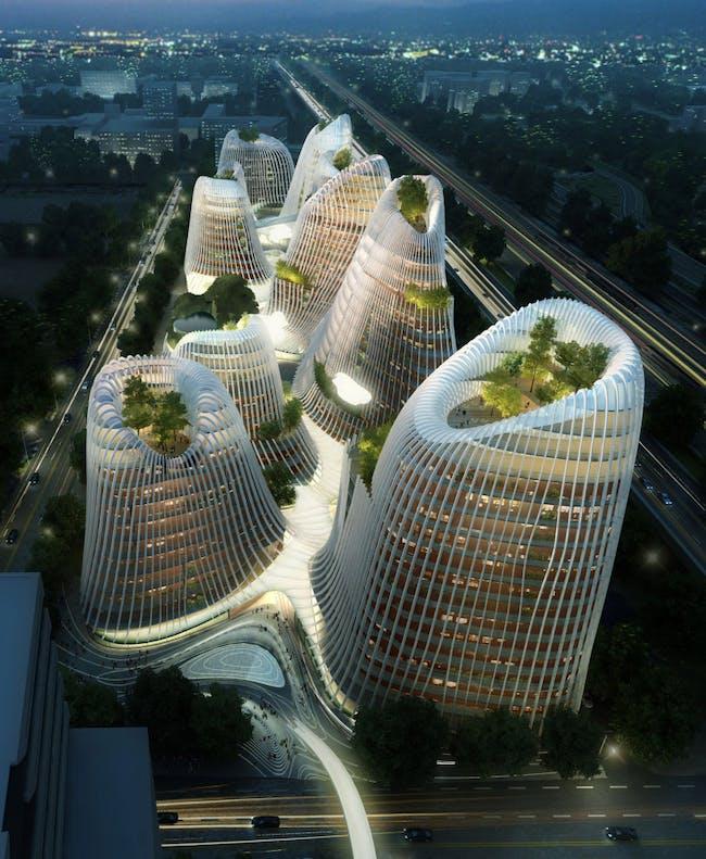 Μετά από εκτεταμένους αρχιτεκτονικούς διαγωνισμούς στη Ρώμη και το Παρίσι, ο Ma κλήθηκε να σκιαγραφήσει ένα γενικό σχέδιο για ένα εμπορικό και λιανικό έργο 200.000 τετραγωνικών μέτρων στην επιχειρηματική περιοχή Zuidas του Άμστερνταμ.  Παρουσίασε αρχιτεκτονικά σχέδια για κατασκευές που μοιάζουν με ένα σύμπλεγμα βουνών με κρατήρα.  Αντανακλώντας ταοϊστικές ζωγραφιές από κορυφές και παγόδες, οι πύργοι σε σχήμα ηφαιστείου θα συνδεθούν με μια σειρά από αυλές, υδάτινες οδούς και περίπτερα που ενώνουν οργανικά το συγκρότημα.  (Λεζάντα...
